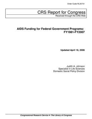 Primary view of object titled 'AIDS Funding for Federal Government Programs: FY1981-FY2007'.