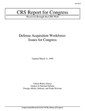 Primary view of object titled 'Defense Acquisition Workforce: Issues for Congress'.