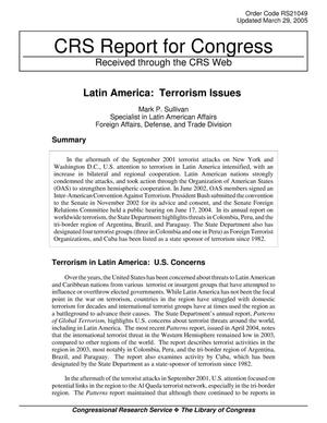 Primary view of object titled 'Latin America: Terrorism Issues'.