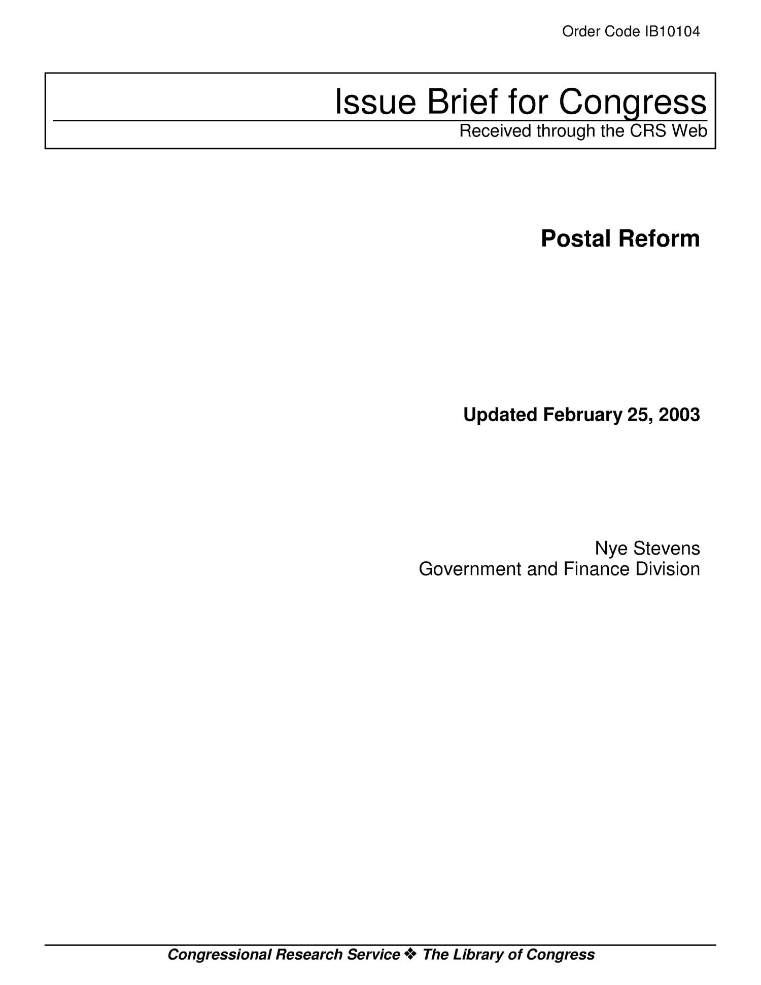 Postal Reform                                                                                                      [Sequence #]: 1 of 15