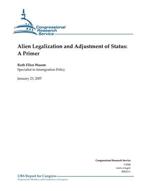 Primary view of object titled 'Alien Legalization and Adjustment of Status: A Primer'.