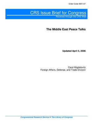 Primary view of object titled 'The Middle East Peace Talks'.