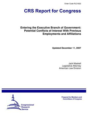 Primary view of object titled 'Entering the Executive Branch of Government: Potential Conflicts of Interest With Previous Employments and Affiliations'.