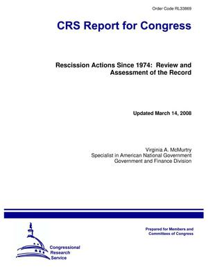 Primary view of object titled 'Rescission Actions Since 1974: Review and Assessment of the Record'.