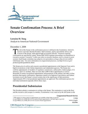 Primary view of object titled 'Senate Confirmation Process: A Brief Overview'.