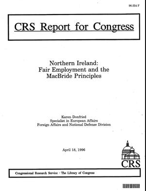 Primary view of object titled 'Northern Ireland: Fair Employment and the MacBride Principles'.