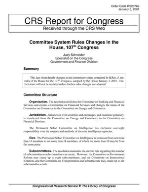 Primary view of object titled 'Committee System Rules Changes in the House, 107th Congress'.