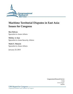 Primary view of object titled 'Maritime Territorial Disputes in East Asia: Issues for Congress'.