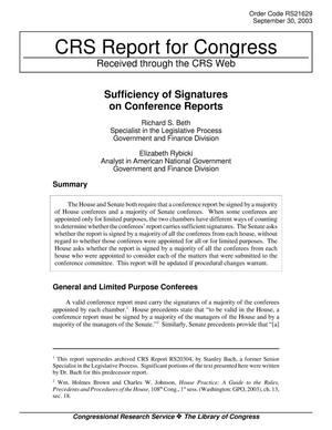 Primary view of object titled 'Sufficiency of Signatures on Conference Reports'.