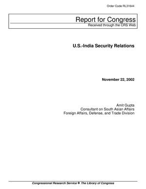 Primary view of object titled 'U.S.-India Security Relations'.