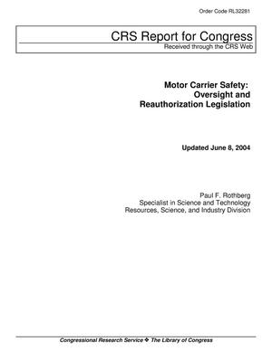 Primary view of object titled 'Motor Carrier Safety: Oversight and Reauthorization Legislation'.