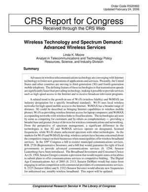 Primary view of object titled 'Wireless Technology and Spectrum Demand: Advanced Wireless Services'.