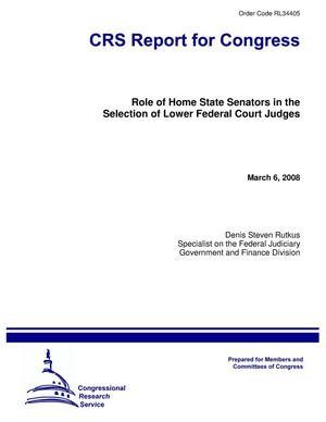 Primary view of object titled 'Role of Home State Senators in the Selection of Lower Federal Court Judges'.