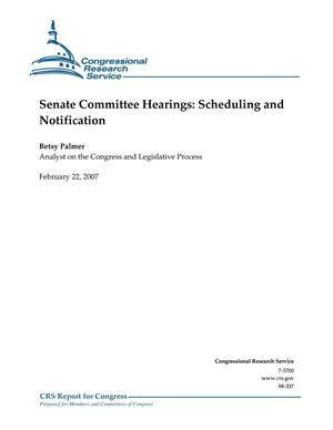 Primary view of object titled 'Senate Committee Hearings: Scheduling and Notification'.