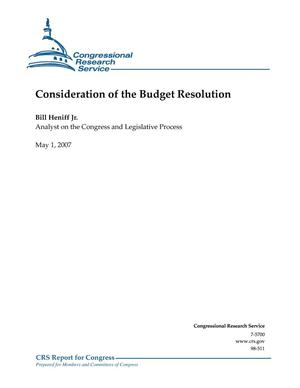 Primary view of object titled 'Consideration of the Budget Resolution'.