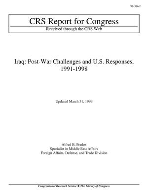 Primary view of object titled 'Iraq: Post-War Challenges and U.S. Responses, 1991-1998'.