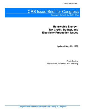 Primary view of object titled 'Renewable Energy: Tax Credit, Budget, and Electricity Production Issues'.