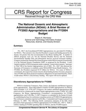Primary view of object titled 'The National Oceanic and Atmospheric Administration (NOAA): A Brief Review of FY2003 Appropriations and the FY2004 Budget'.