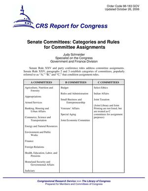 Primary view of object titled 'Senate Committees: Categories and Rules for Committee Assignments'.