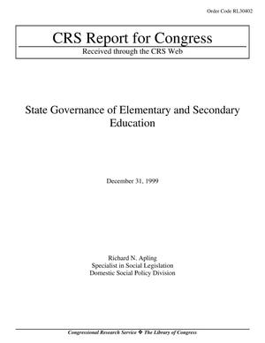 Primary view of object titled 'State Governance of Elementary and Secondary Education'.