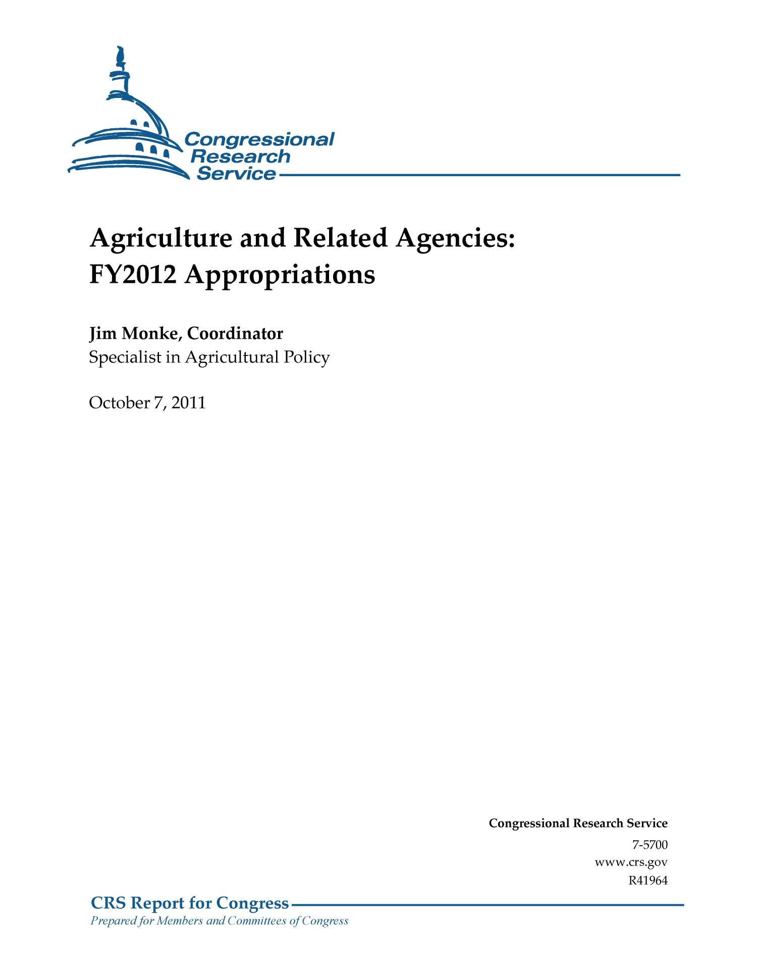 Agriculture and Related Agencies: FY2012 Appropriations                                                                                                      [Sequence #]: 1 of 79