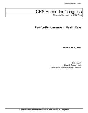 Primary view of object titled 'Pay-for-Performance in Health Care'.