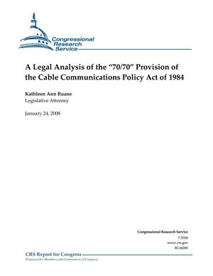 "Primary view of object titled 'A Legal Analysis of the ""70/70"" Provision of the Cable Communications Policy Act of 1984'."