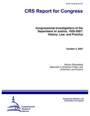 Primary view of object titled 'Congressional Investigations of the Department of Justice, 1920-2007: History, Law, and Practice'.