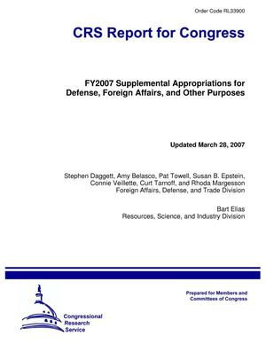 Primary view of object titled 'FY2007 Supplemental Appropriations for Defense, Foreign Affairs, and Other Purposes'.