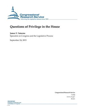 Primary view of object titled 'Questions of Privilege in the House'.