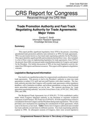 Primary view of object titled 'Trade Promotion Authority and Fast-Track Negotiating Authority for Trade Agreements: Major Votes'.