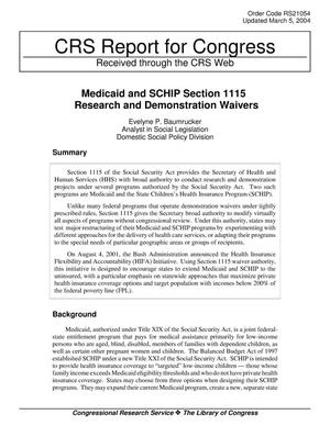 Primary view of object titled 'Medicaid and SCHIP Section 1115 Research and Demonstration Waivers'.
