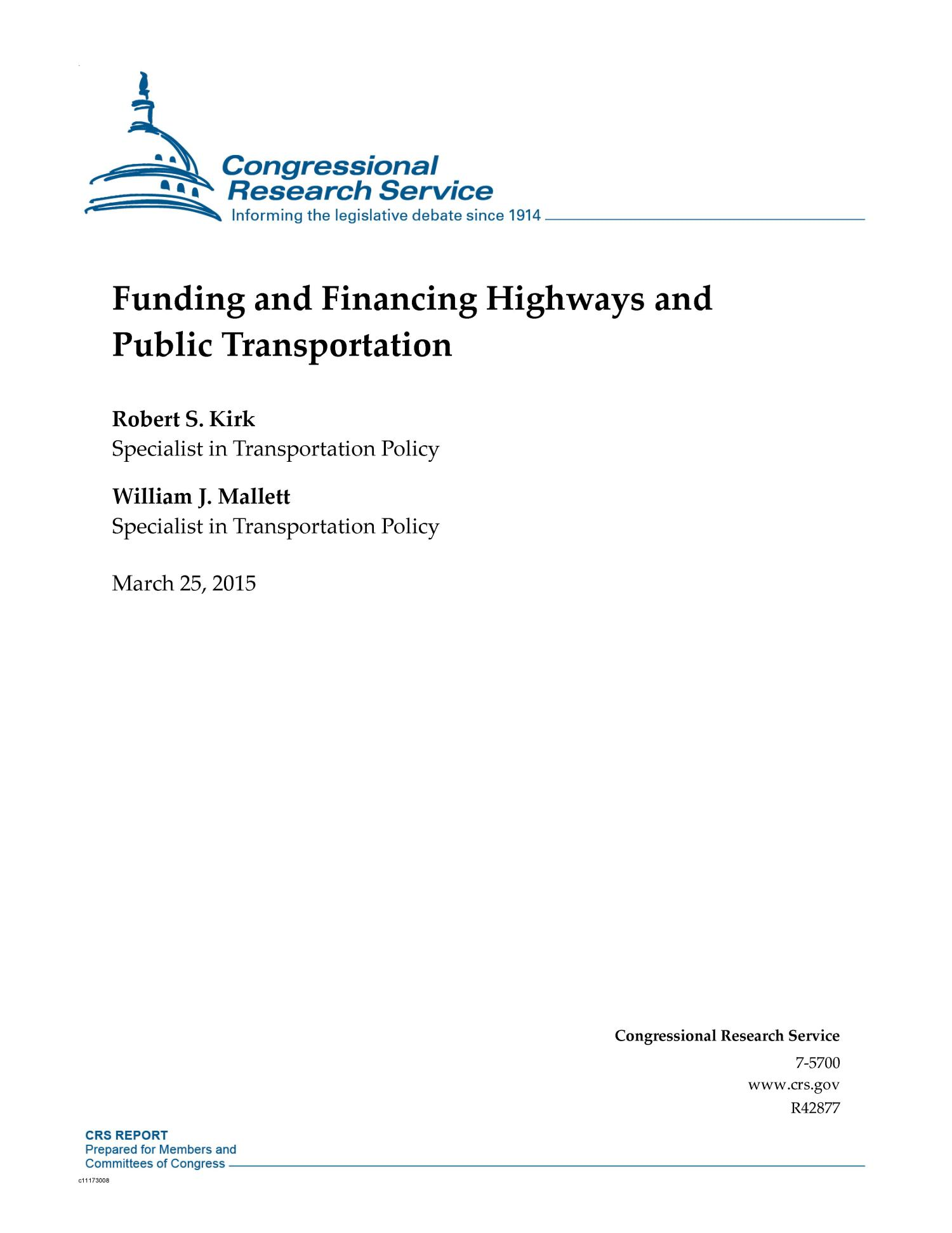 Funding and Financing Highways and Public Transportation                                                                                                      [Sequence #]: 1 of 34