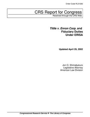 Primary view of object titled 'Tittle v. Enron Corp. and Fiduciary Duties Under ERISA'.