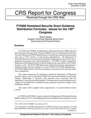 Primary view of object titled 'FY2006 Homeland Security Grant Guidance Distribution Formulas: Issues for the 109th Congress'.