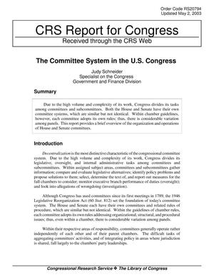 Primary view of object titled 'The Committee System in the U.S. Congress'.