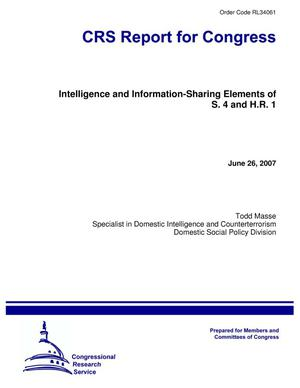 Primary view of object titled 'Intelligence and Information-Sharing Elements of S. 4 and H.R. 1'.