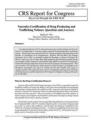 Primary view of object titled 'Narcotics Certification of Drug Producing and Trafficking Nations: Questions and Answers'.