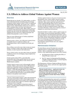 Primary view of object titled 'U.S. Efforts to Address Global Violence Against Women'.
