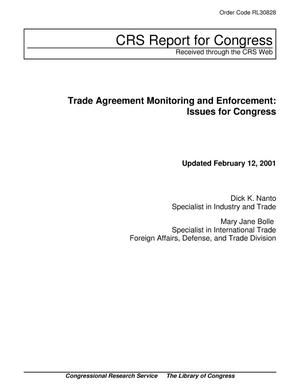 Primary view of object titled 'Trade Agreement Monitoring and Enforcement: Issues for Congress'.