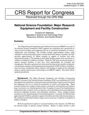 Primary view of object titled 'National Science Foundation: Major Research Equipment and Facility Construction'.
