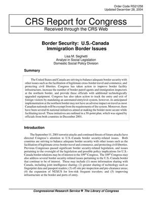 Primary view of object titled 'Border Security: U.S.-Canada Immigration Border Issues'.