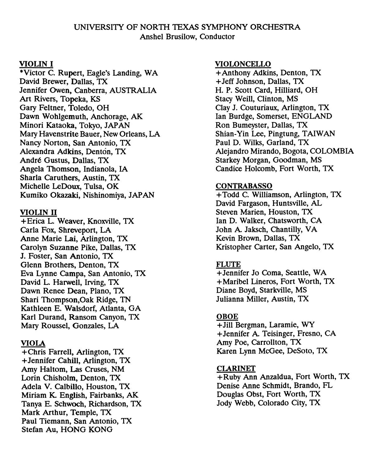 college of music program book 1991 1992 fall spring performances vol