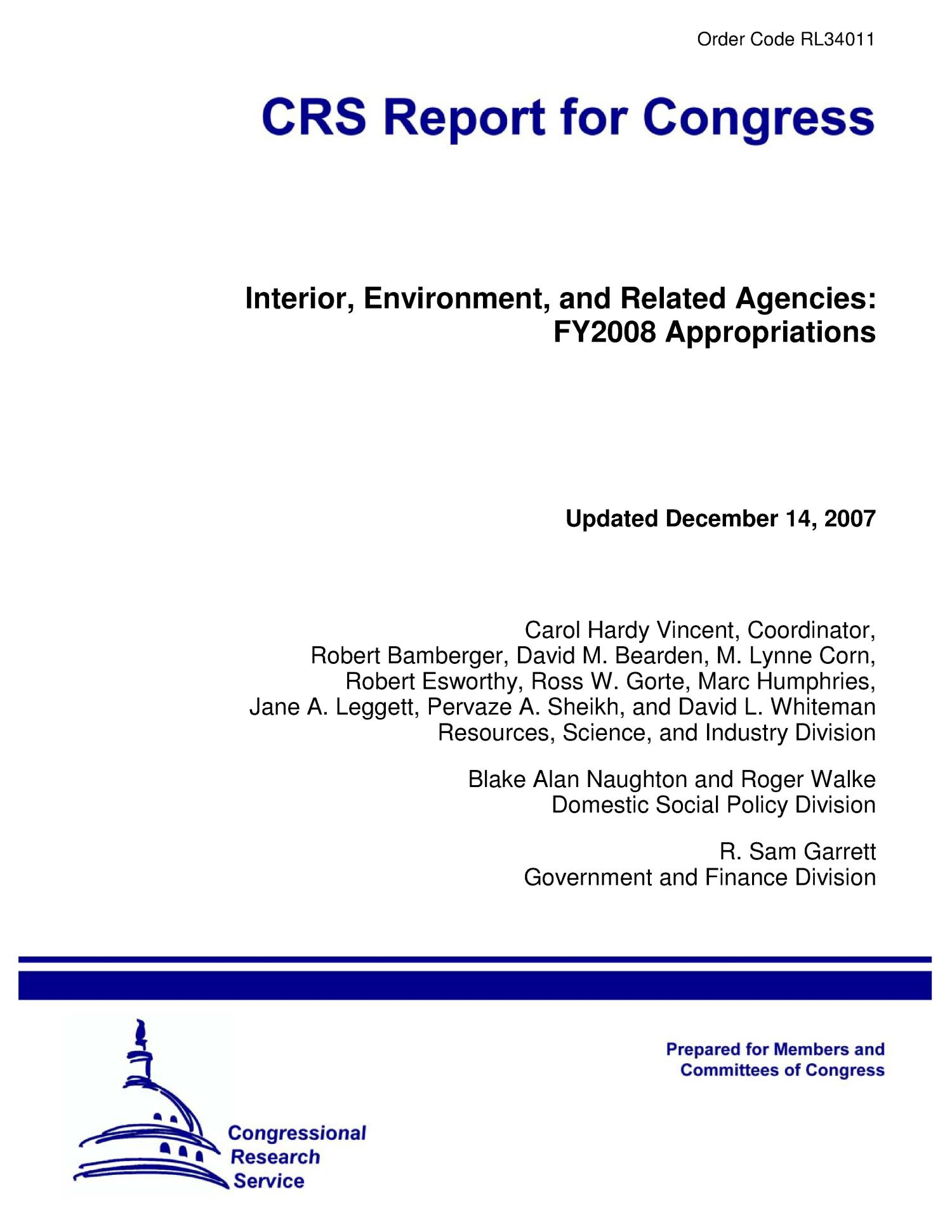 Interior, Environment, and Related Agencies: FY2008 Appropriations                                                                                                      [Sequence #]: 1 of 88