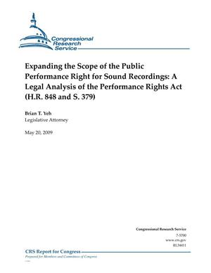 Primary view of object titled 'Expanding the Scope of the Public Performance Right for Sound Recordings: A Legal Analysis of the Performance Rights Act (H.R. 848 and S. 379)'.