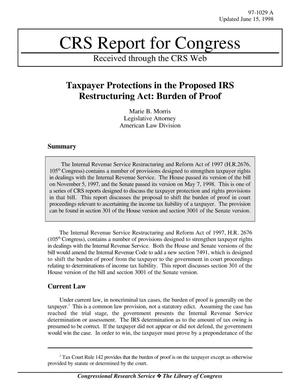 Primary view of object titled 'Taxpayer Protections in the Proposed IRS Restructuring Act: Burden of Proof'.