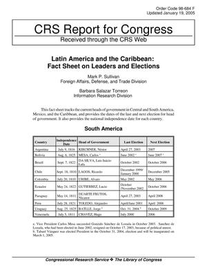 Primary view of object titled 'Latin America and the Caribbean: Fact Sheet on Leaders and Elections'.