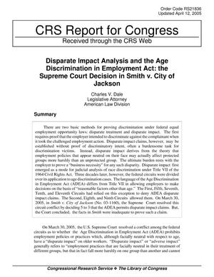 Primary view of object titled 'Disparate Impact Analysis and the Age Discrimination in Employment Act: the Supreme Court Decision in Smith v. City of Jackson'.