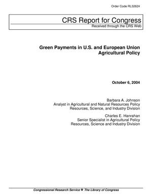 Primary view of object titled 'Green Payments in U.S. and European Union Agricultural Policy'.