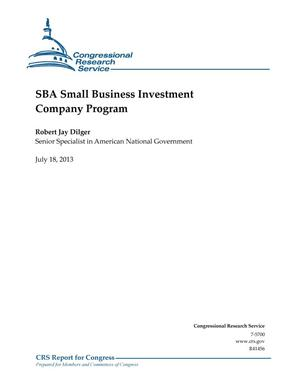 Primary view of object titled 'SBA Small Business Investment Company Program'.